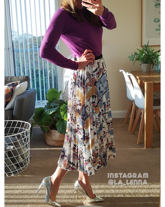 Summer Catroon Printing Women Skirts Mid Calf Pleated Skirt European High Street Style Empire Summer Skirts photo review