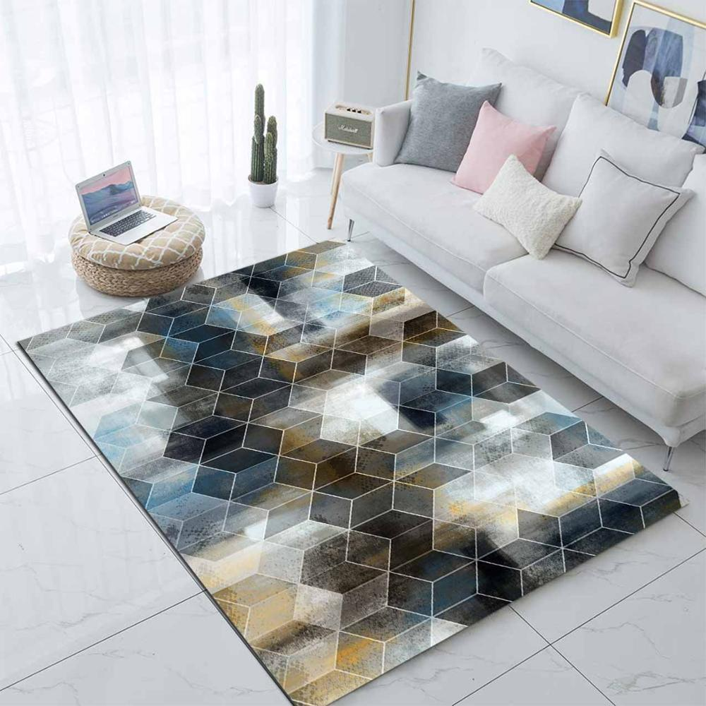 Else Yellow Black Blue Watercolor Geometric 3d Print Non Slip Microfiber Living Room Modern Carpet Washable Area Rug Mat