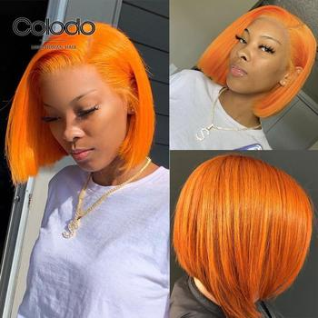COLODO 13x4 Orange Lace Front Human Hair Wigs Pre Plucked Hairline 8 inch Brazilian Remy 150% Short Bob Wigs for Black Women