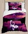 Еще фиолетовый озеро Wiev на белых лебедей 4 шт 3D печати хлопок сатин один пододеяльник Постельное белье Подушка Чехол для простыни на кровать