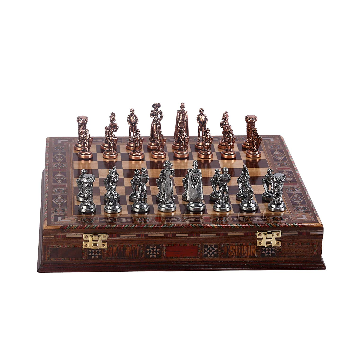 Medieval British Army Antique Copper Metal Chess Set,Handmade Pieces,Natural Solid Wooden Chess Board,Storage Inside King 7 Cm