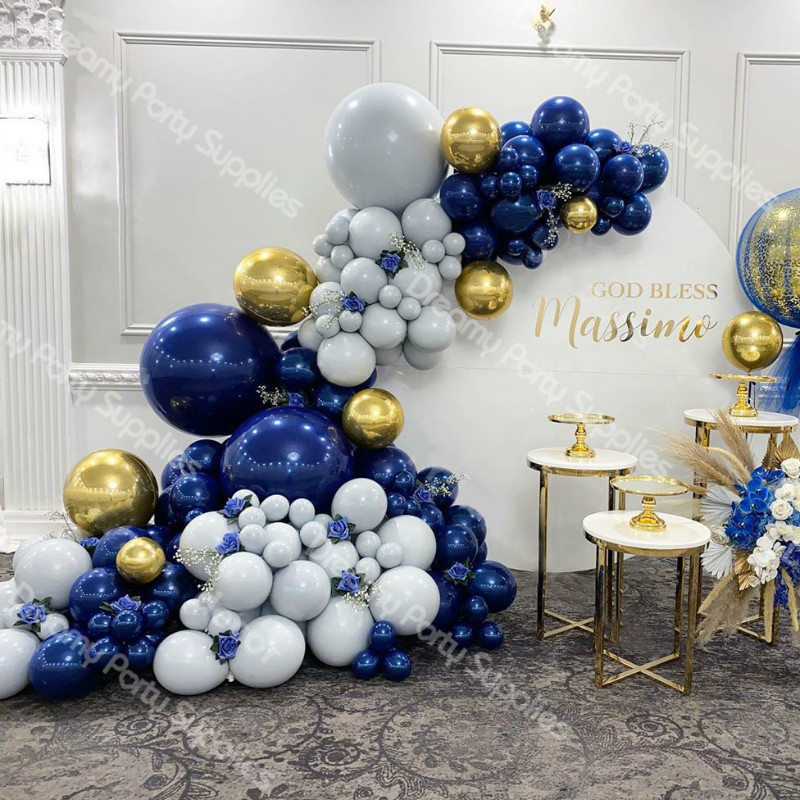 145pcs Navy Blue Balloons Garland Arch Kit Gray Gold 4D Foil Balloon Baby Shower Wedding Birthday Anniversary Party Decoration