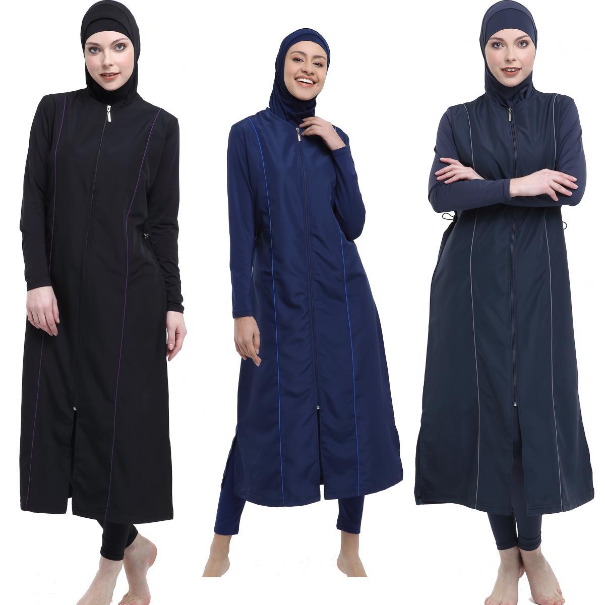 Argisa 7119 Piping Long Hijab Swimwear S-XXL Muslim Hijab Islamic Swimsuit Swim Burkinis Full Cover