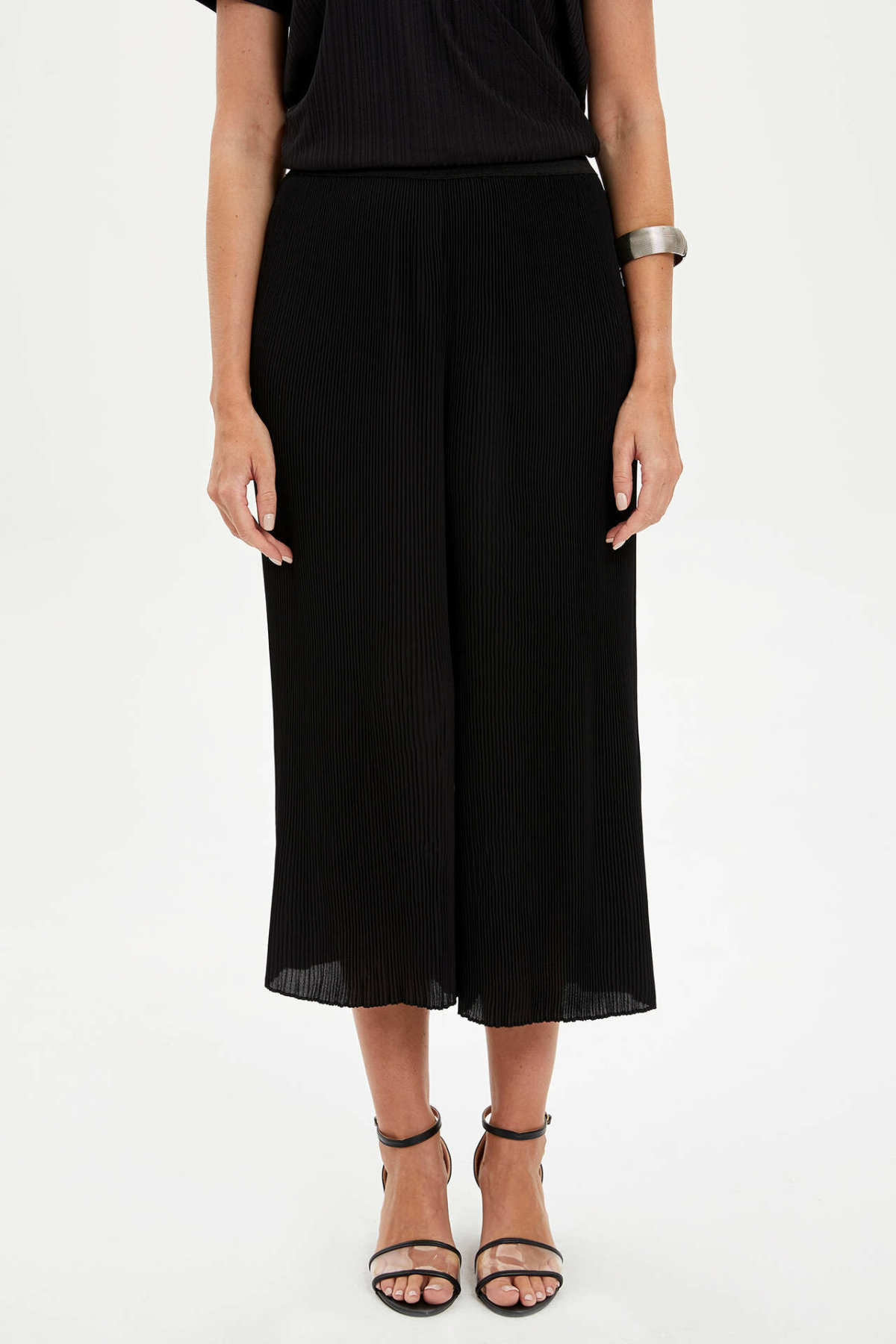 DeFacto Woman Summer Black Chiffon Long Pants Women Casual Elastic Bottoms Female Wide-leg Loose Capri-L7179AZ19SM