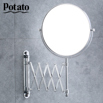 bathroom mirror antique red copper double side make up mirror dressing room round magnifying cosmetic mirror wall mounted nba631 Potato Chrome Round Double-Sided 360 Deg 7X Magnifying Mirror 8 Wall Mounted Mirror Vanity  Cosmetic Mirrors For Make-Up p762-8