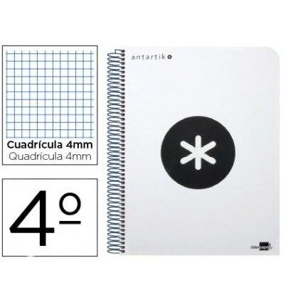 SPIRAL NOTEBOOK LIDERPAPEL QUARTER ANTARTIK HARDCOVER 80H 100 GR TABLE 4MM WITH MARGIN WHITE COLOR 4 Units