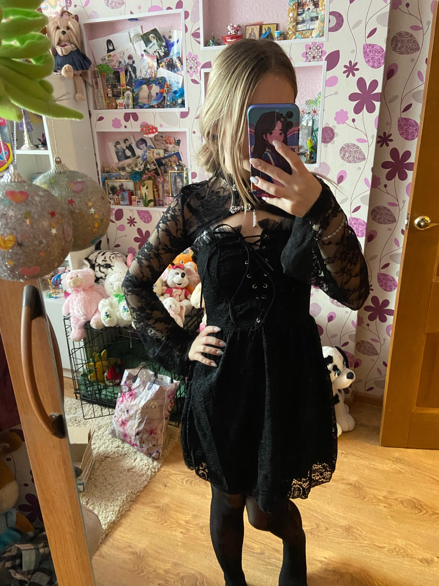 Gothic Set - Lace Crop Top with Long Sleeves and Dress photo review
