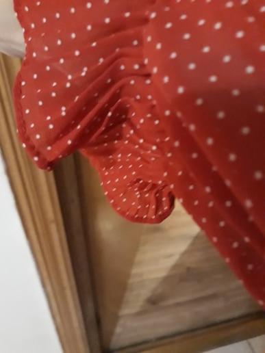 Autumn Dress Vintage Dot Ruffles Women Butterfly Sleeve Shirt Dresses Belt Mid Calf Empire A Line Pleated Hem Dress photo review