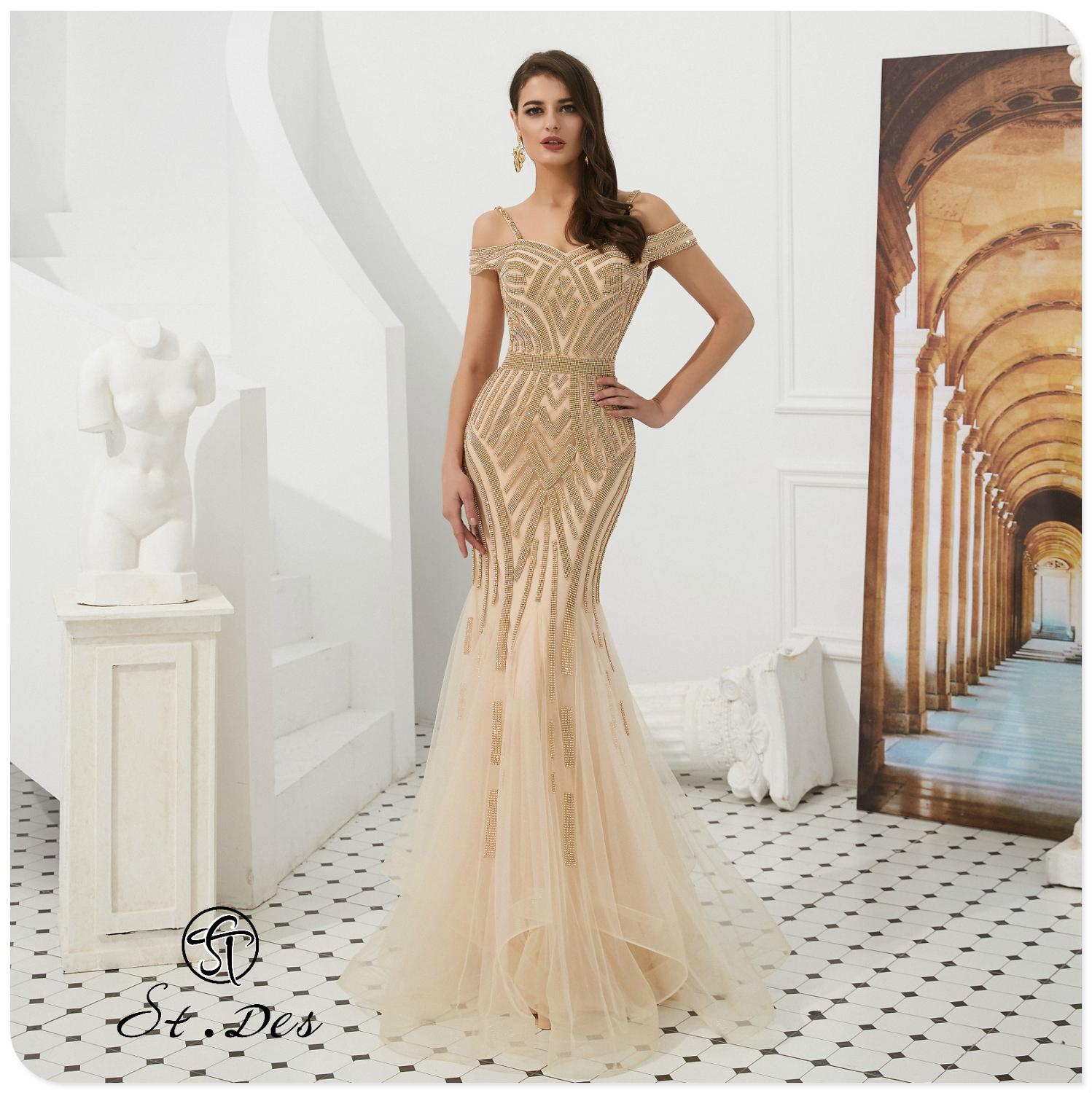 NEW 2020 St.Des Mermaid Boat Neck Russian Champagne Beading Mid-sleeve Designer Floor Length Evening Dress Party Dress