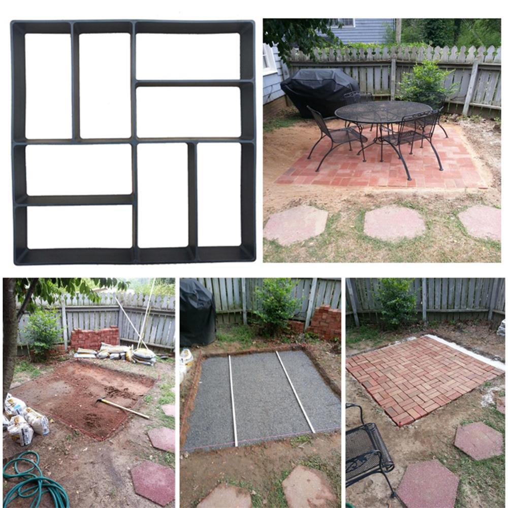 cheapest Garden DIY Plastic Path Maker Pavement Model Concrete Stepping Stone Cement Mould Brick PR Sale