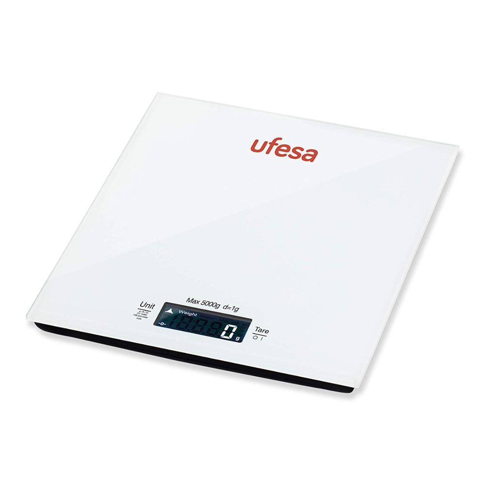 Ufesa BC1100 - Digital Kitchen Scale, Up To 5kg, Special Function For Weighing Milk, Water And Cups, Tempered Glass