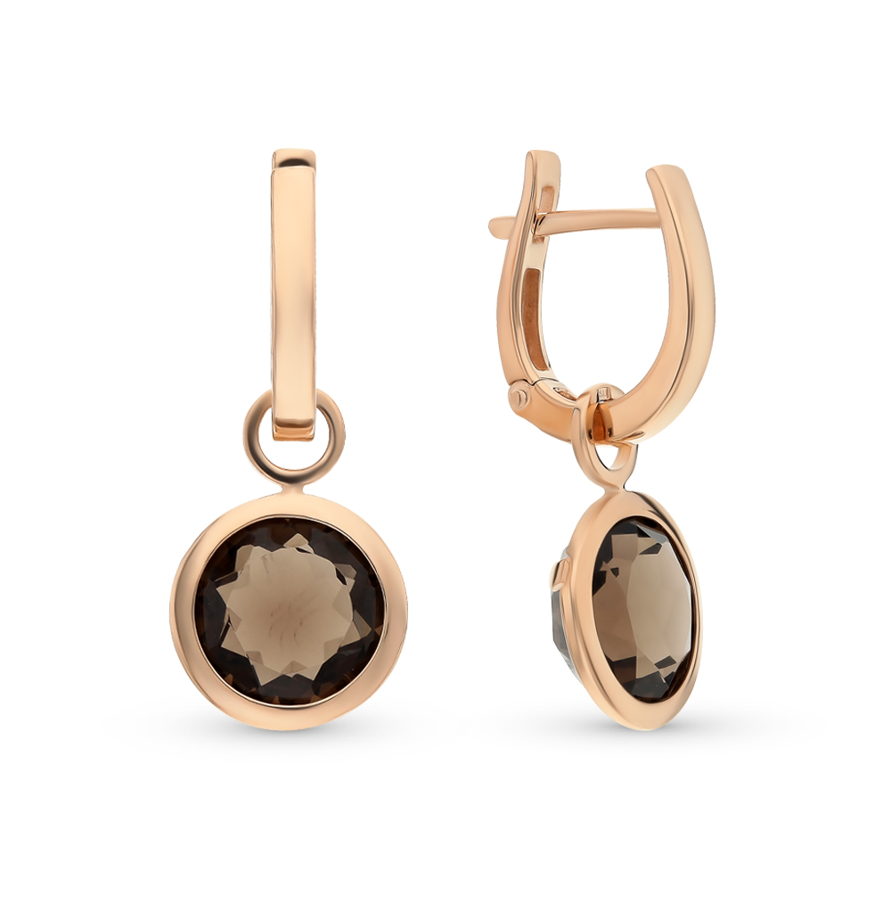 Gold Earrings With раухтопазами Sunlight Sample 585