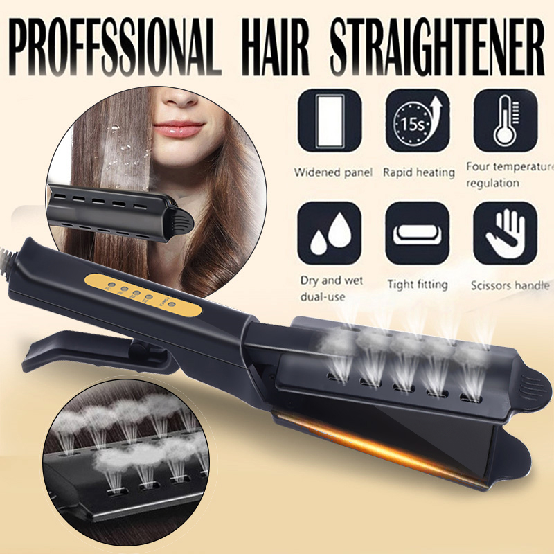 Hair Straightener Four-gear Temperature Adjustment Ceramic Tourmaline Ionic Flat Iron Hair Straightener For Women Widen Panel