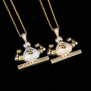 Image 2 - TOPGRILLZ Iced Out US Dollar Money Power Pendant Necklace & Pendant Free Cuban Chain Cubic Zircon Mens Hip Hop Rock  Jewelry