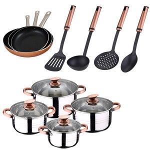 Посуда из нержавеющей стали, 3 набора кастрюль для соуса из алюминия (20, 24,28 см) и кухонные принадлежности SAN ignacio