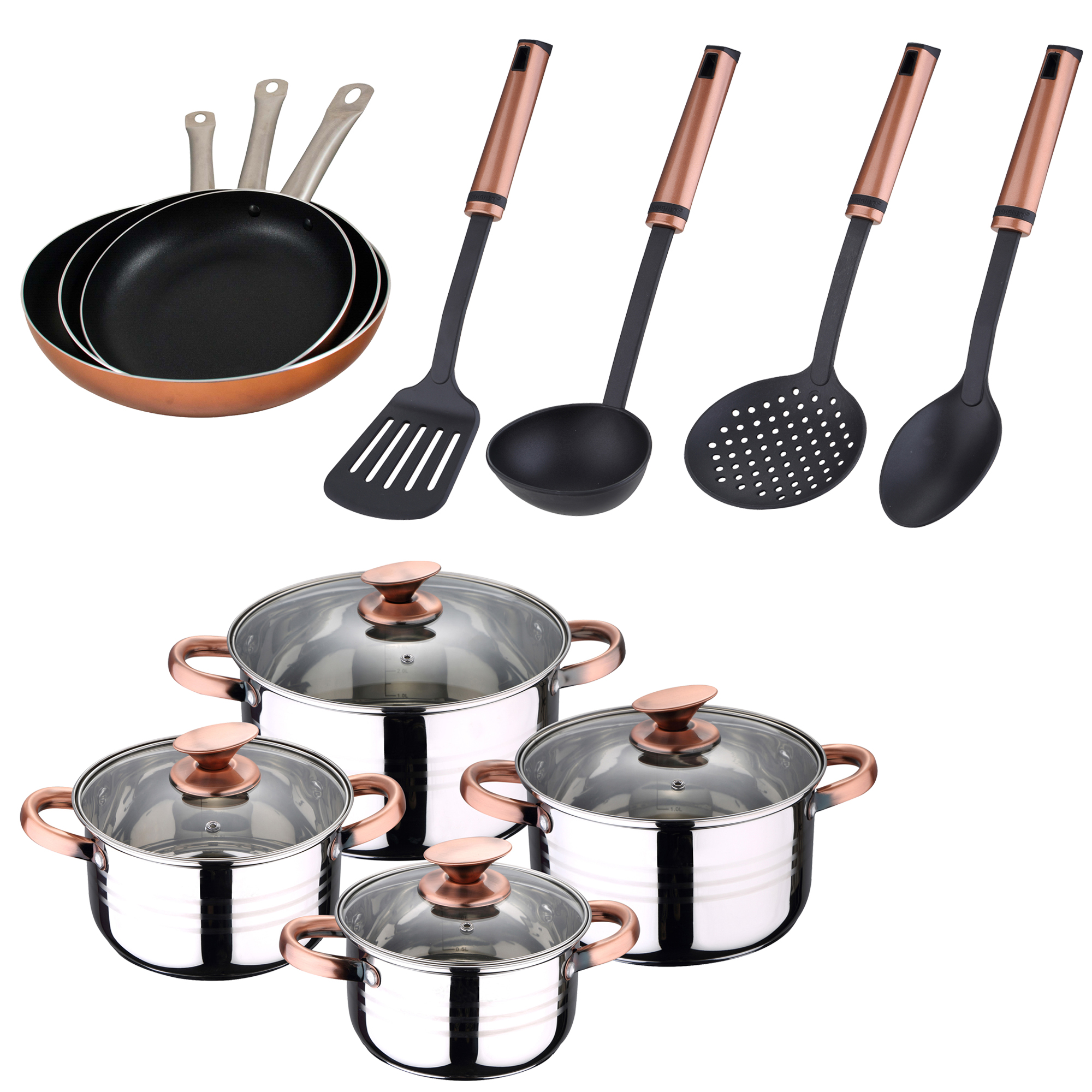 Cookware in stainless steel, 3 set sauce pans in aluminum (<font><b>20</b></font>, <font><b>24</b></font>,28 cm) and kitchen supplies SAN ignacio image