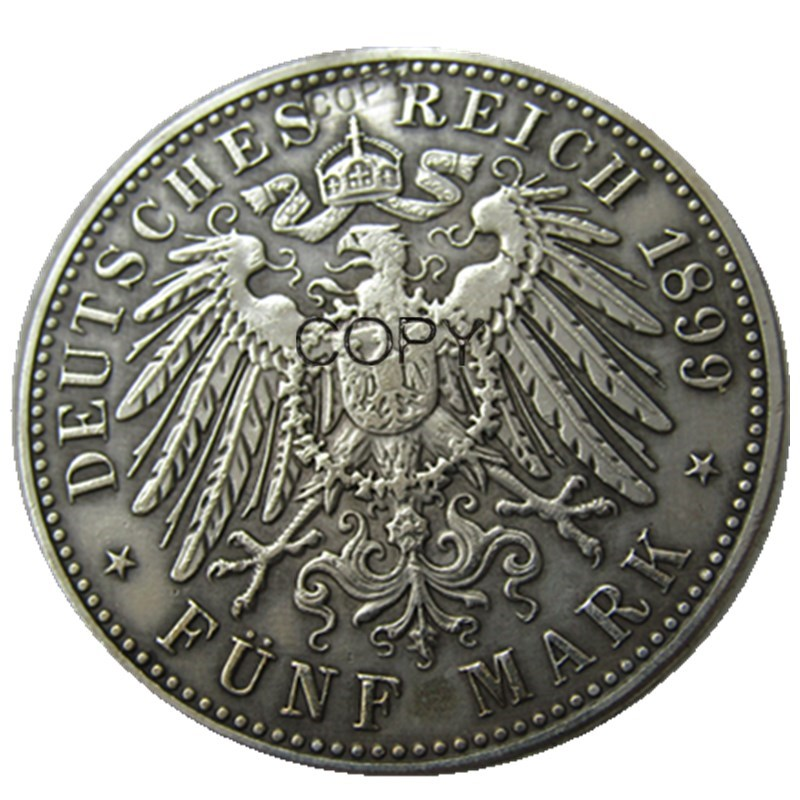 Bir dəst (1891-1901) 5 əd. ALMAN STATES BADEN - 5 markalı Gümüş - Ev dekoru - Fotoqrafiya 2