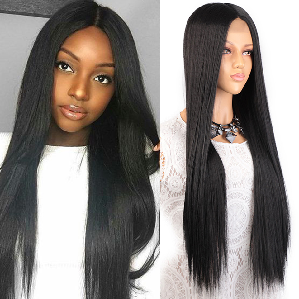 Stamped Glorious Long Straight Black Wig Synthetic Long Black Wigs For Women Natural Middle Part Wig Heat Resistant Fiber