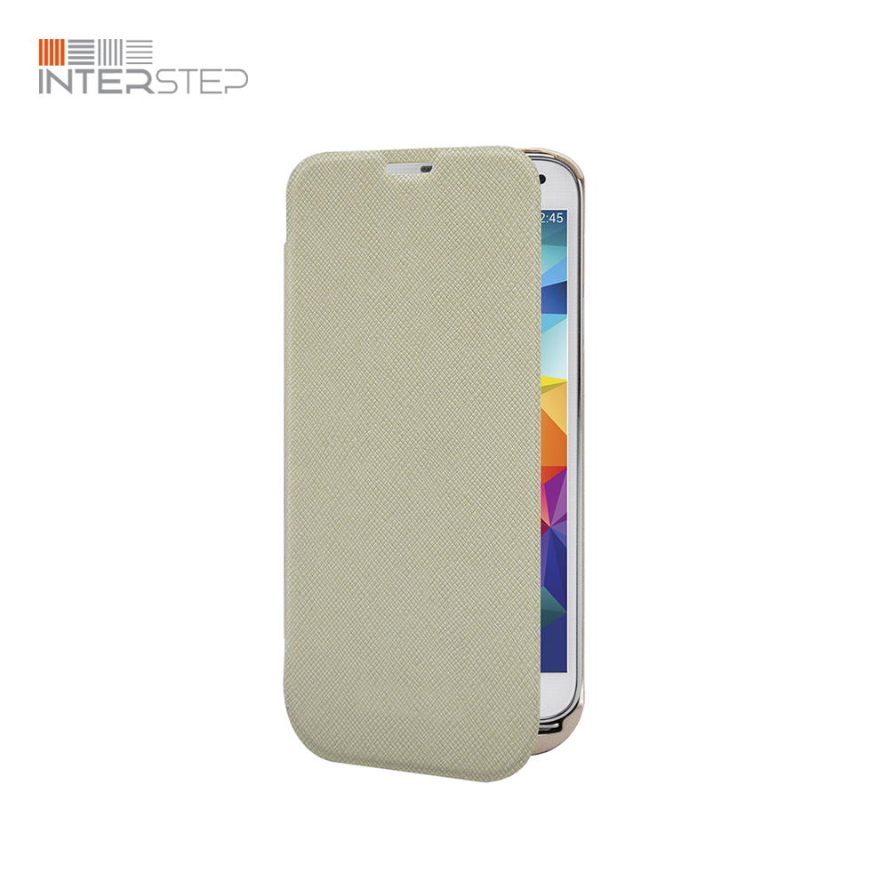 Case battery INTERSTEP For Samsung Galaxy S5, 2800 mAh, beige stylish flip open pu tpu case w stand display window wake up for samsung galaxy s5 pink