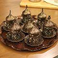 Kupfer osmanischen türkischen arabischen Tee Kaffee Espresso Tassen Becher Set 6 Stücke Tassen Saucen mit Tablett  Zuckerschale In der Türkei Geschenkbox-in Kaffeezubehör-Sets aus Heim und Garten bei