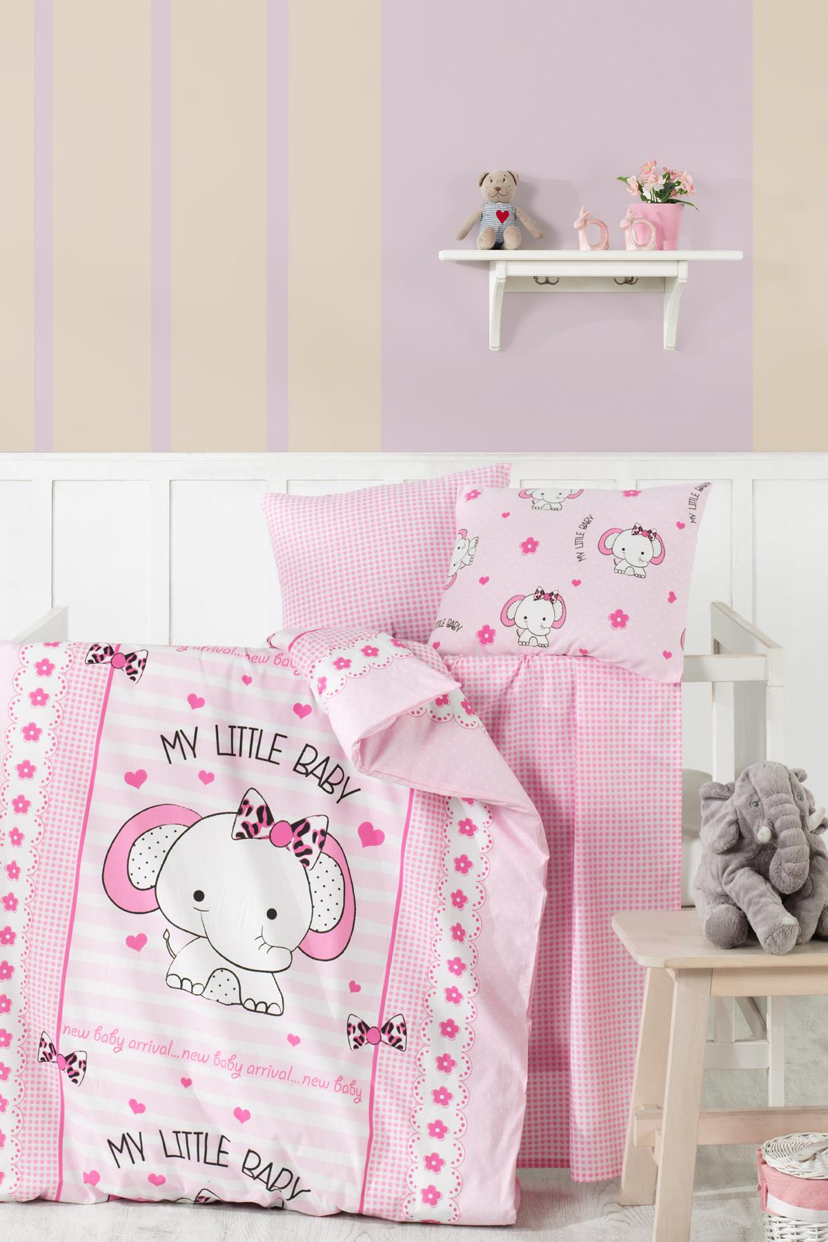 Baby Bed Set Hundred Percent Cotton | Sweet Elephant