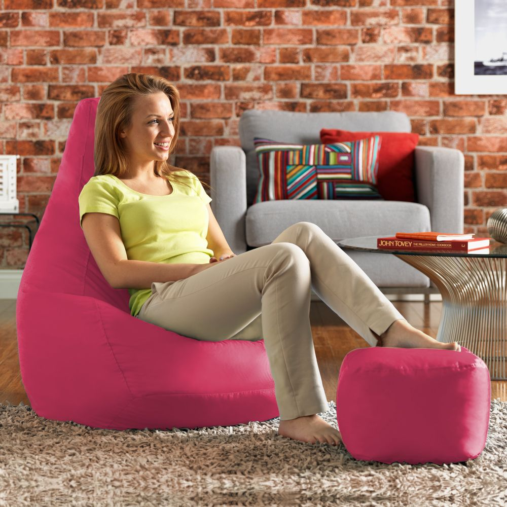 Ink Craft Leatherette  Pink Combo Retro Classic Bean Bag Chair Cover Only