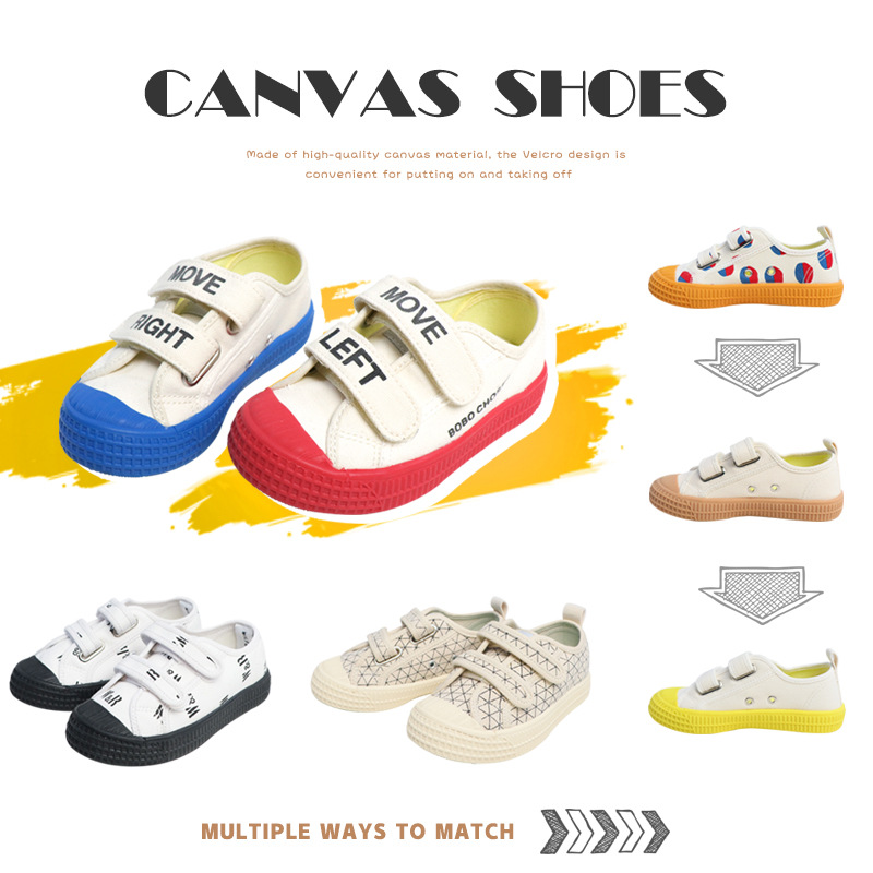 IN STOCK INS2020 Summer Children's Shoes Trend Boys Girls W&F Canvas Shoes Velcro Wild Casual Rubber Bottom Canvas Shoes