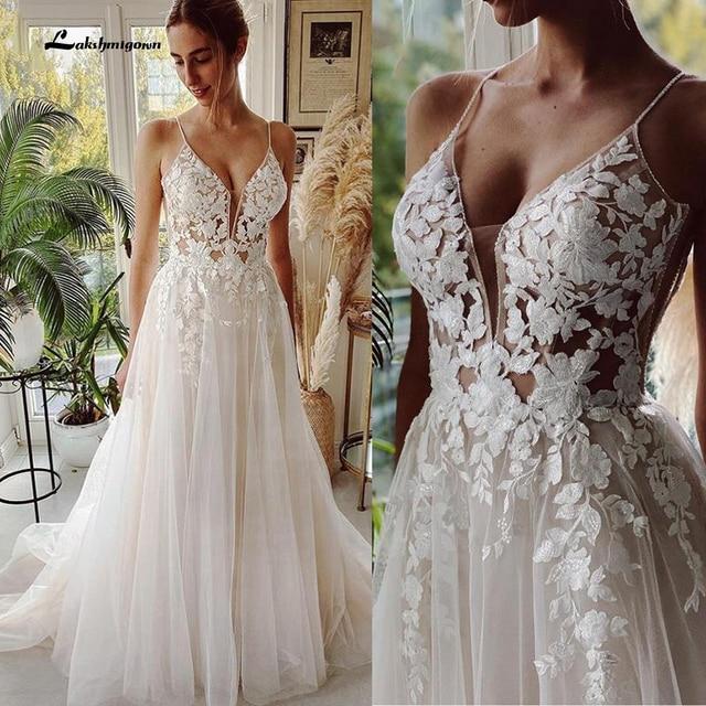 Robe Vintage Beach Wedding Dresses 2021 Tulle Long Lace Beach Bridal Gown A-Line Court Train vestido de noiva Lakshmigown 1