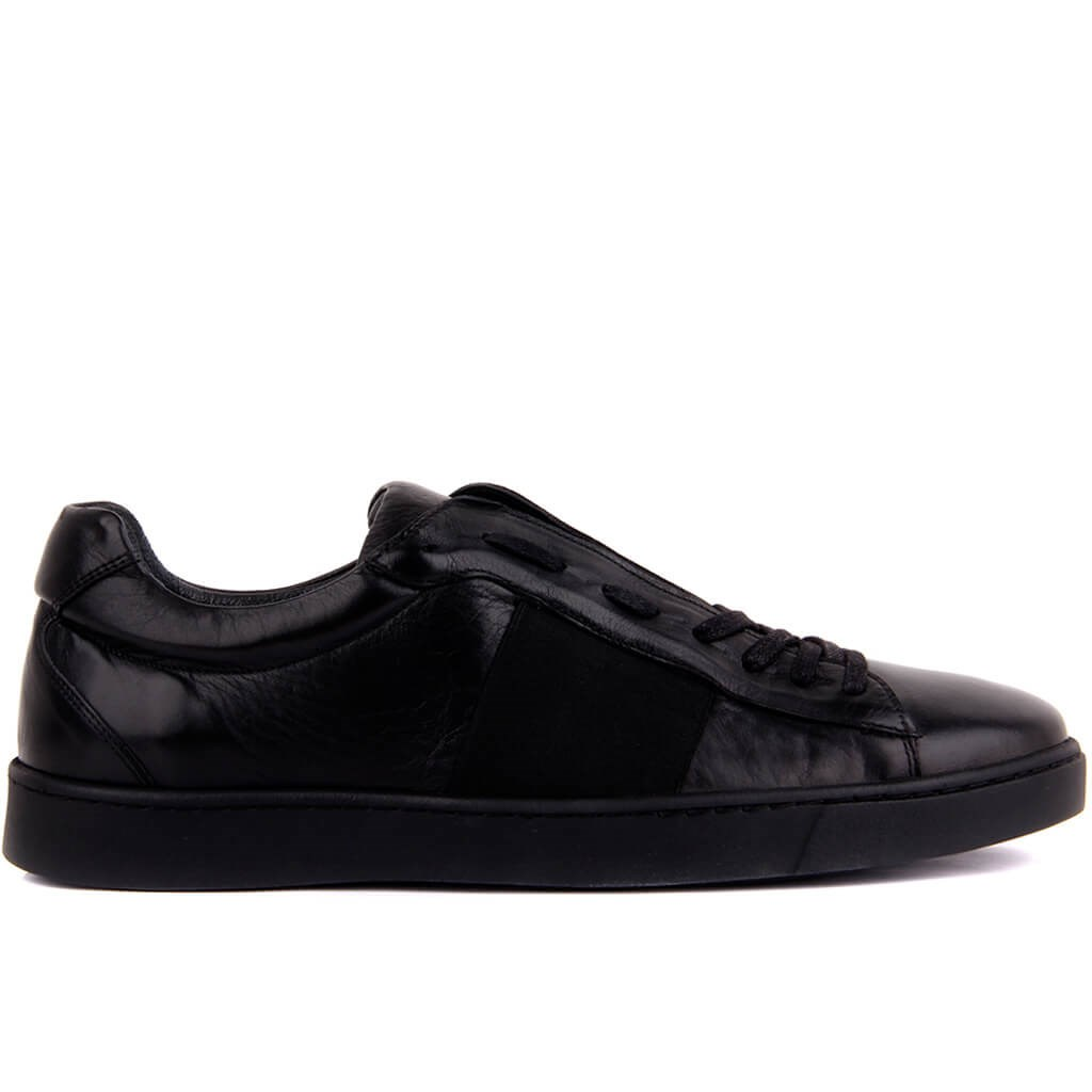 Sail-Lakers Black Leather Men Sneaker