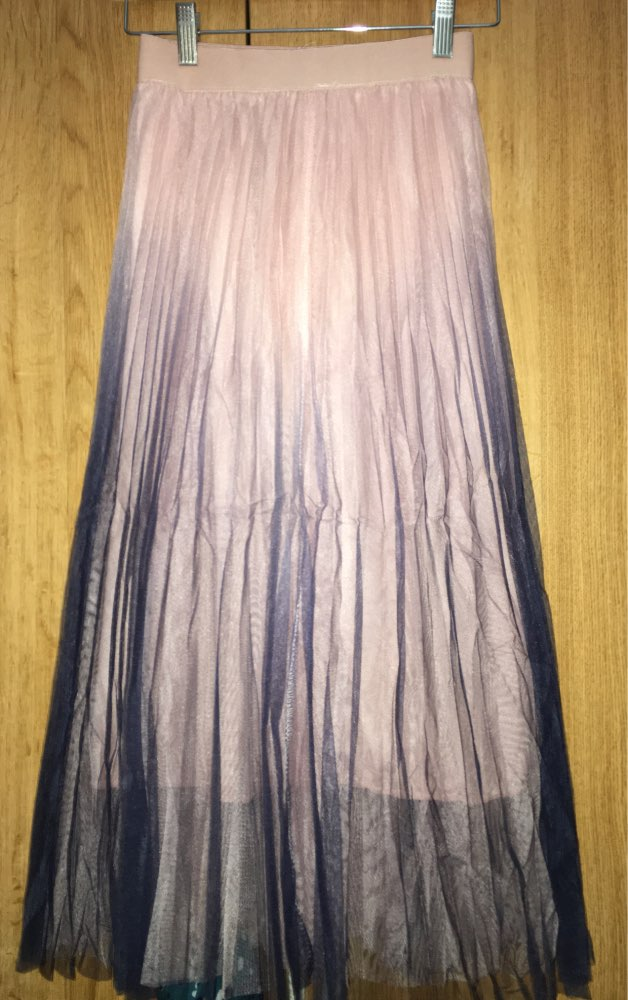 Beautiful Gradient Color Long Tulle Skirts Women Korean A Line High Waist Pleated Maxi Skirt Female School Skirt Girls photo review
