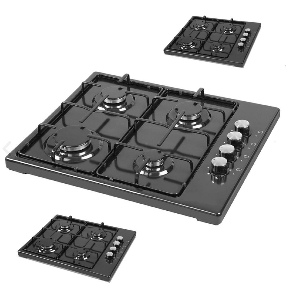 ROYAL BLACK NEW DESIGN Natural -Propane Gas Countertop 4 Burner Kitchen Cooktop Stoves Hob Cooking Appliance Cookware Gas Cooker