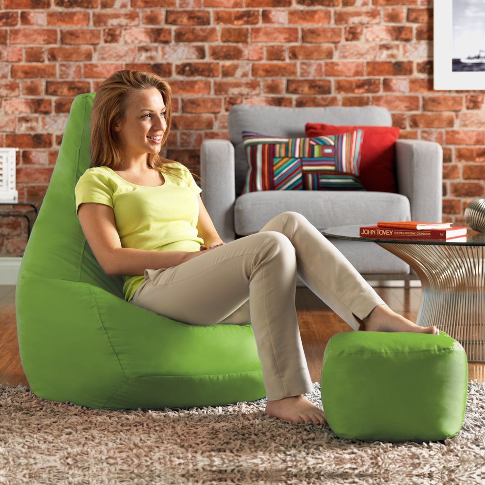 Ink Craft Leatherette  Green Combo Retro Classic Bean Bag Chair Cover Only