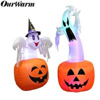 OurWarm Halloween PVC Inflatable Ghost Outdoor Yard Shopping Mall Decoration Halloween Party Supplies Inflatable Pumpkin Light