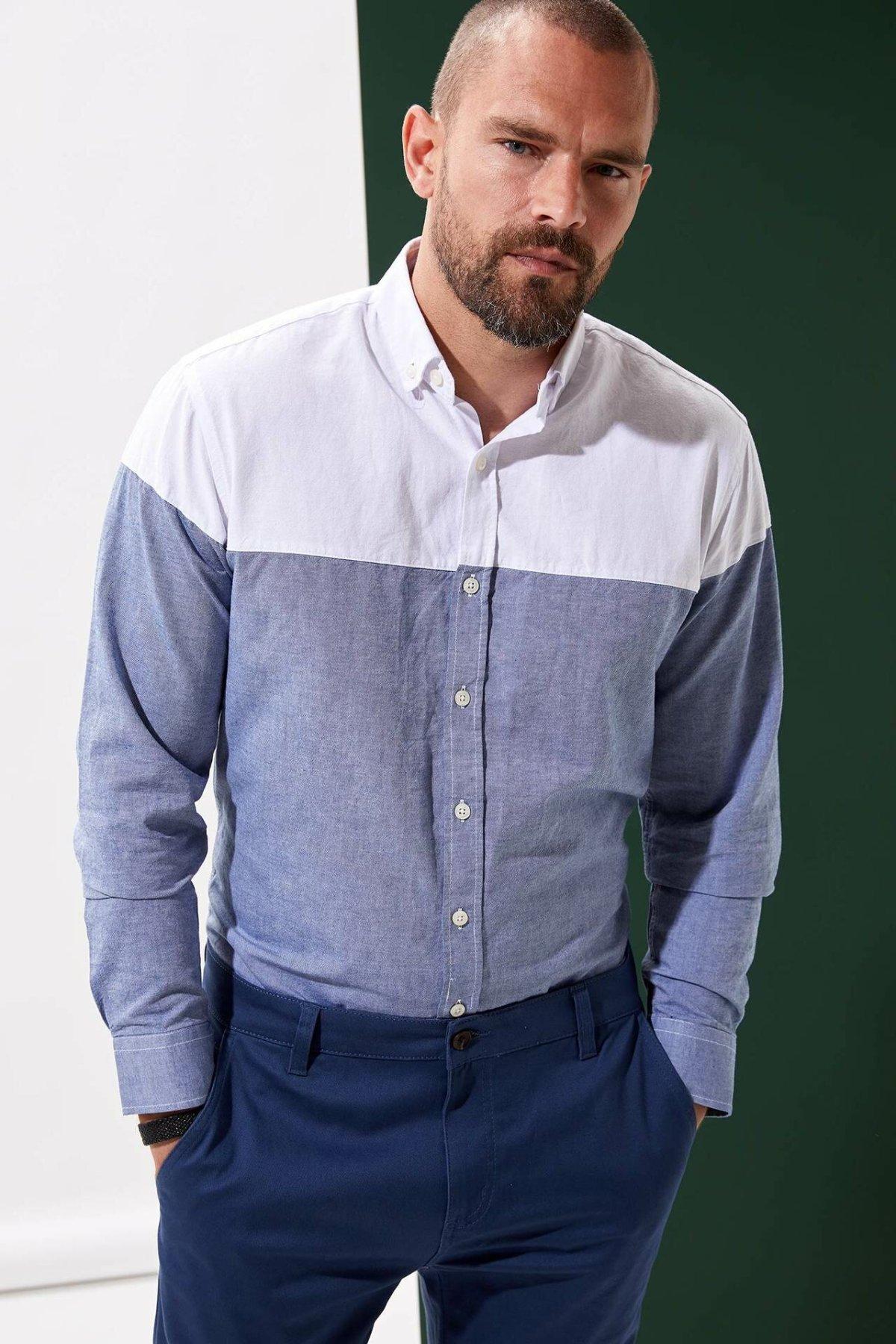 DeFacto Men Fashion Patchwork Shirts Long Sleeve Shirts Mens Casual Lapel Collar Casual Shirt Tops New - L5607AZ19AU