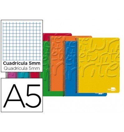 SPIRAL NOTEBOOK LEADERPAPER A5 MICRO WRITE SOFTCOVER 80H 60 GR TABLE 5MM 6 DRILLS ASSORTED Color 5 Units