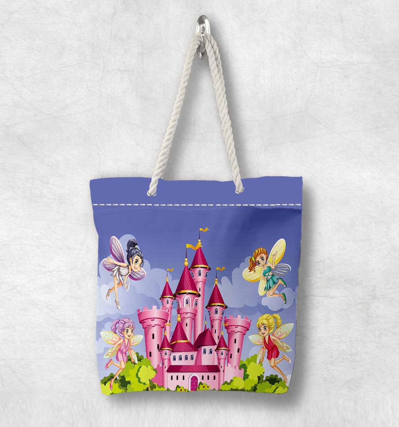 Else Pink Castle Fairy Girls Blue Sky Green Trees White Rope Handle Canvas Bag  Cartoon Print Zippered Tote Bag Shoulder Bag