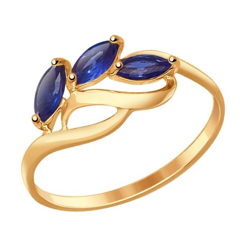 SOKOLOV Ring Gold With Corundums Sapphire (synthetic)