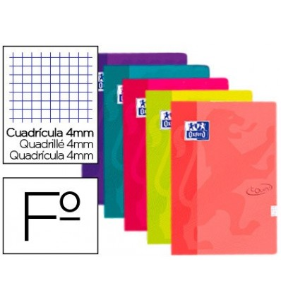 SPIRAL NOTEBOOK OXFORD SOFTCOVER FOLIO 80 SHEETS GRID 4 MM ASSORTED COLORS TOUCH 5 Pcs