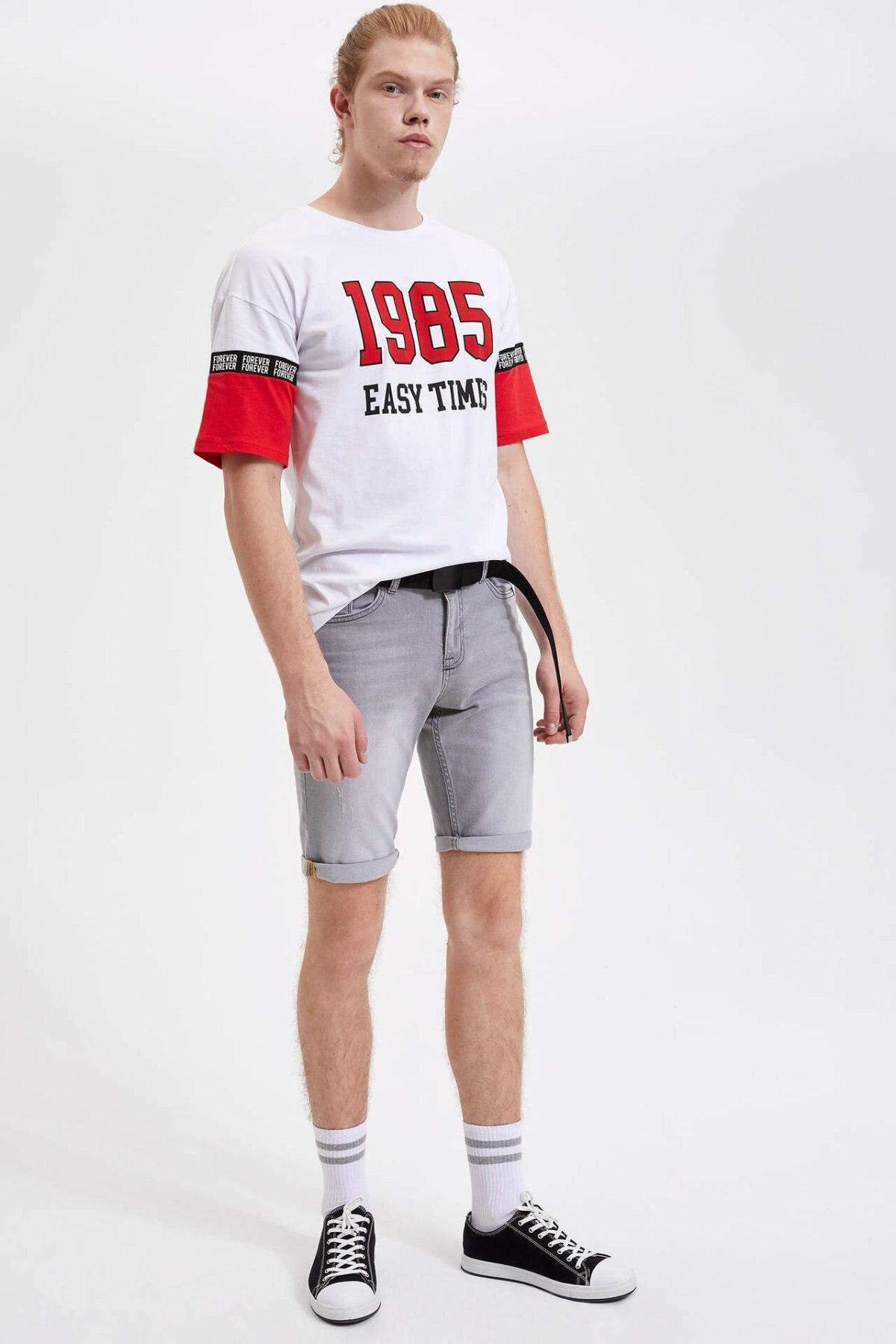 DeFacto Fashion Male Short Pants High Quality Men's Casual Loose Simple Jeans Shorts Black Summer Light Blue - L0191AZ19SM