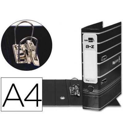 LEVER ARCH FILE LEADERPAPER A4 FILING SYSTEM LINED WITH RADO LOMO 75MM BLACK COMPRESSOR METAL 5 Pcs