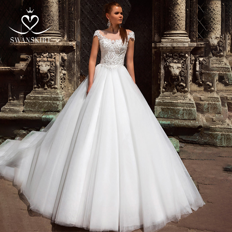Beaded Appliques Wedding Dress 2019 Swanskirt Scoop Illusion Ball Gown Princess Court Train Bridal Gown Vestido De Noiva F223