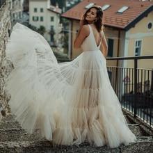 Tule em camadas com decote em v vestido de casamento enrolado babados aberto voltar 2021 concelled zíper botões praia vestido de noiva feito sob encomenda mais tamanho