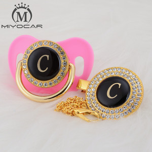 Image 5 - MIYOCAR Oro argento nome Iniziali lettera C bella bling ciuccio e ciuccio clip di set BPA libero dummy bling design unico LC