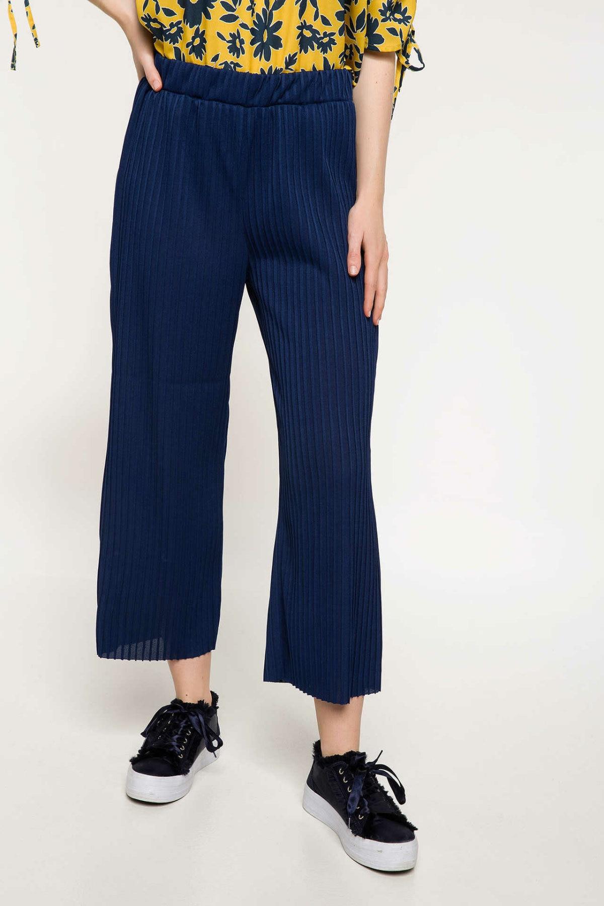 DeFacto Fashion Woman Elegant Trousers Female Wide-leg Crop Pants Ladies Casual Belts Comfort Spring Blue - J1076AZ18SP