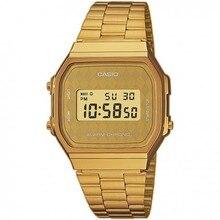 Оптическими зумом Casio коллекция A168WG-9BW Ретро rombos золотые часы в стиле унисекс