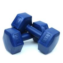 2 pçs hexagonal azul plástico haltere haltere haltere peso conjunto de levantamento 1 2 3 kg esportes inverno verão delta 1kg 2kg 3 kg