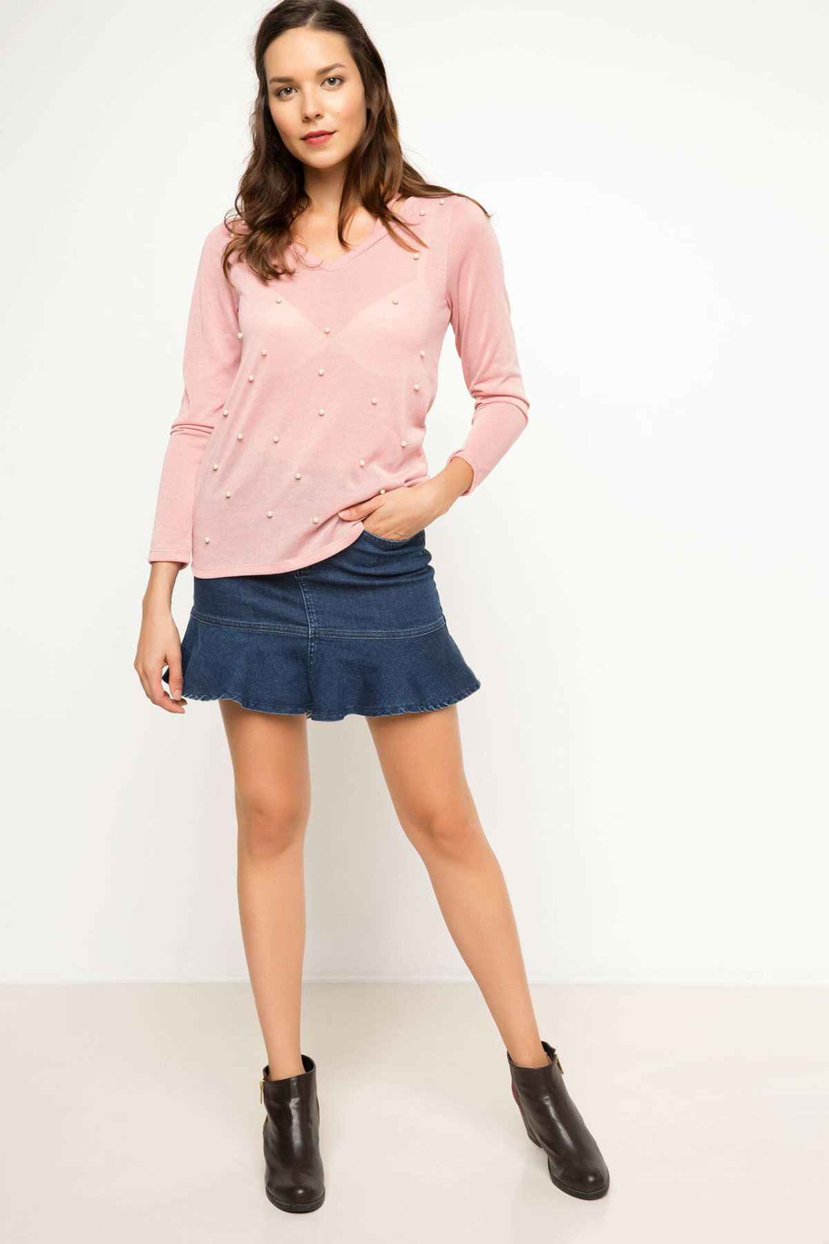 DeFacto Blue Women Ruffles <font><b>Denim</b></font> <font><b>Skirt</b></font> Casual <font><b>High</b></font>-<font><b>Waist</b></font> Solid Color Simple <font><b>Jeans</b></font> Short <font><b>Skirt</b></font> Fashion -I2397AZ17AU-I2397AZ17AU image
