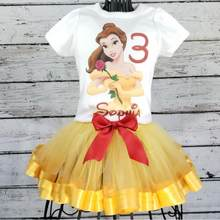 Custom any cartoon Beauty and the Beast Ribbon Tutu Set Birthday, Belle first birthday t shirt outfit set, Princess Belle dress(China)
