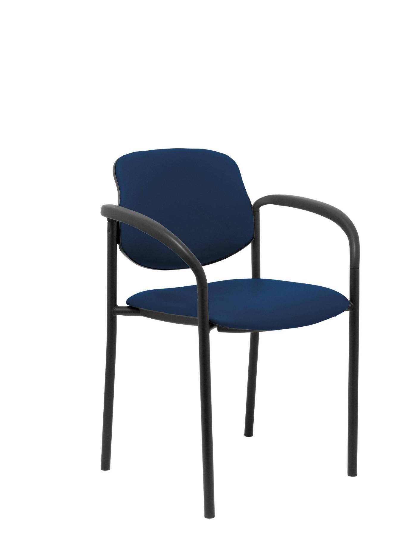 Visitor Chair 4's Topsy, With Arms And Estructrua Negro-up Seat And Backstop Upholstered In Tissue Similpiel Blue Marin