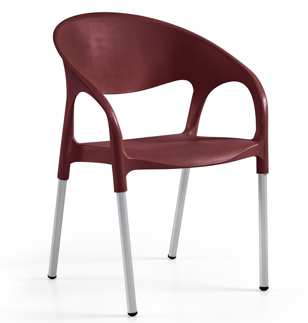 Armchair MOON, Aluminum, Polypropylene Bordeaux *